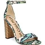 Sam Edelman Yaro Palm Print Block Heel Sandals