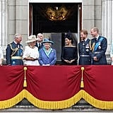 Charles and Meghan exchanged a smiley glance on the balcony of Buckingham Palace during the Royal Air Force celebration in July 2018.