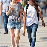 Ellen Page and Kate Mara cracked up while walking around NYC together on Tuesday.