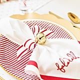 Sugar Paper White and Red Falala Chain-Stitched Dinner Napkin