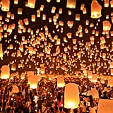 Let Go of a Floating Lantern in Thailand