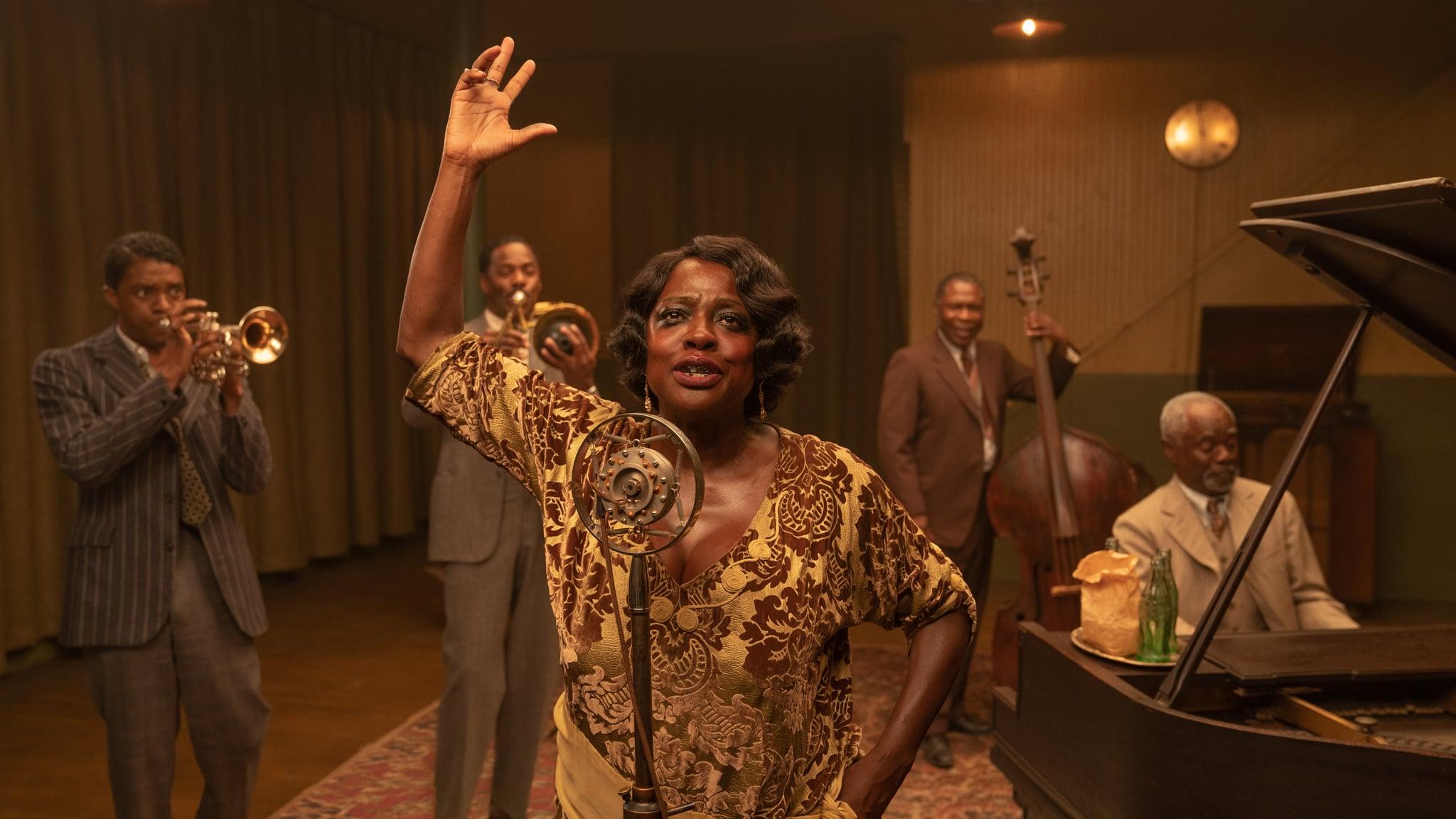 MA RAINEY'S BLACK BOTTOM(2020)Chadwick Boseman as Levee, Colman Domingo as Cutler, Viola Davis as Ma Rainey, Michael Potts as Slow Drag and Glynn Turman as Toledo.   Cr. David Lee/NETFLIX