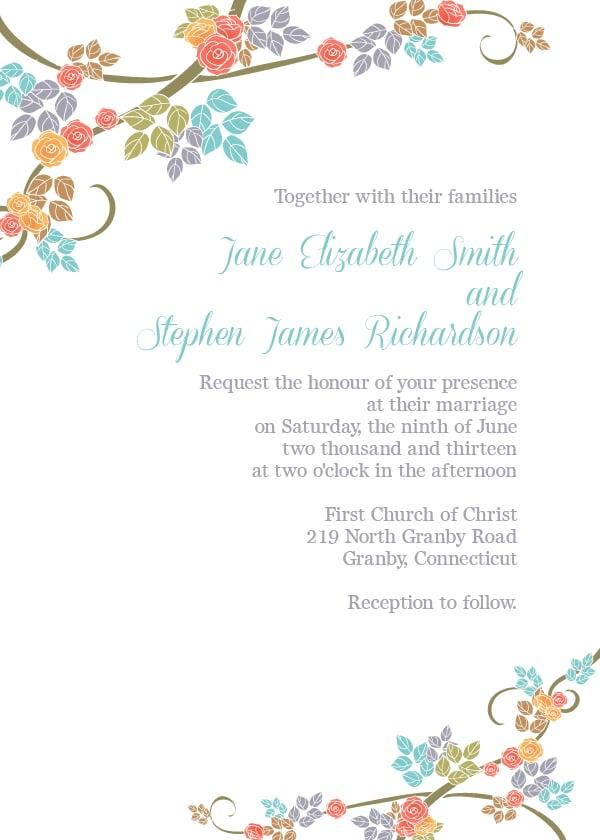 Spring Floral Border Wedding Invitation Free Printable Wedding
