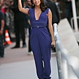 Eva Longoria wore a purple jumpsuit for an appearance on Le Grand Journal.