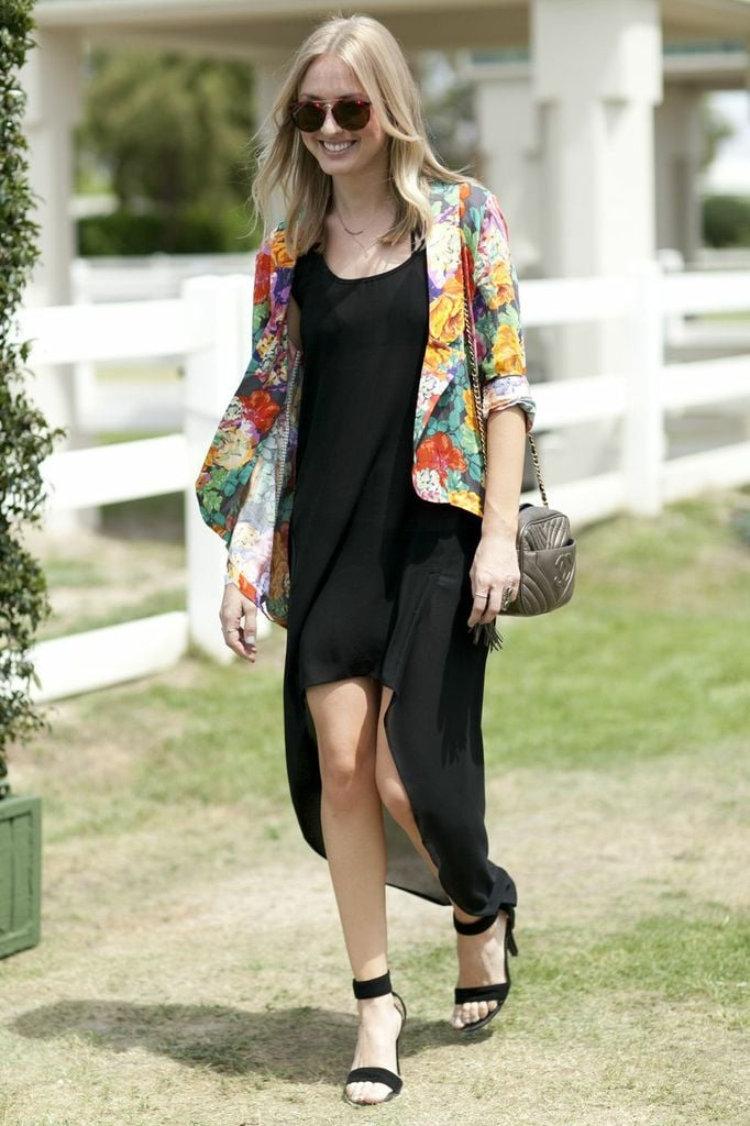 A floral-print blazer brought a pop of color to black basics.