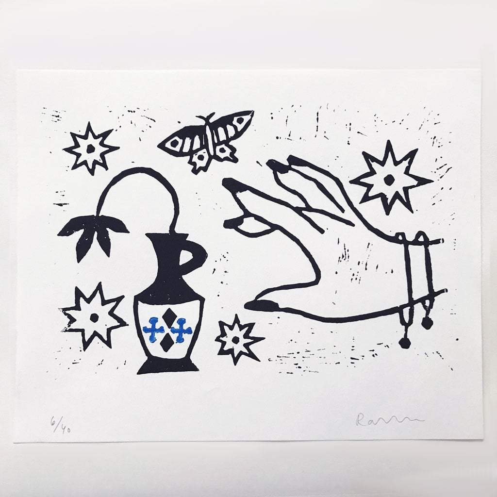 Hand and Vase Linocut Print
