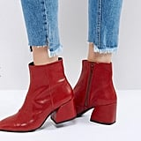 Vagabond Olivia Cherry Red Leather Ankle Boots ($198)