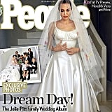 The first look at Angelina Jolie's wedding dress was as hotly-discussed as you'd imagine! We were divided on her Versace dress, but love the beautiful meaning behind it all. Your thoughts?