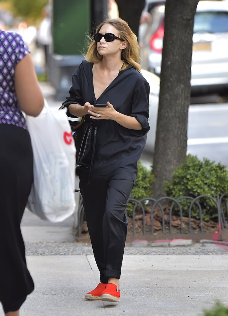 Mary-Kate Olsen Wearing Orange Espadrilles