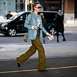 Give army-green pants a Spring update by teaming with robin's-egg blue.