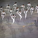 Martial artists show off some moves.