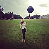 We were loving Ali's giant black balloon. . . so much so, we had an impromptu park shoot to celebrate it.