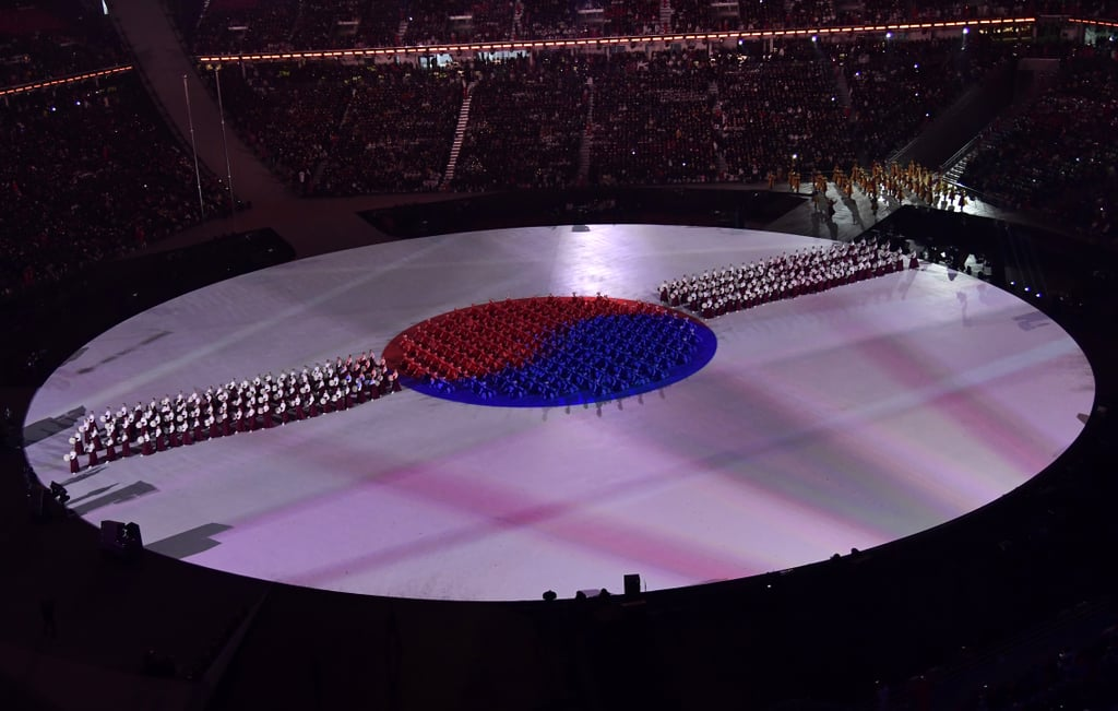 Drummers formed the flag of South Korea.