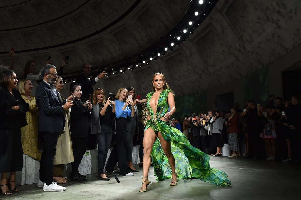Jennifer Lopez Wore a New Green Dress on the Versace Runway