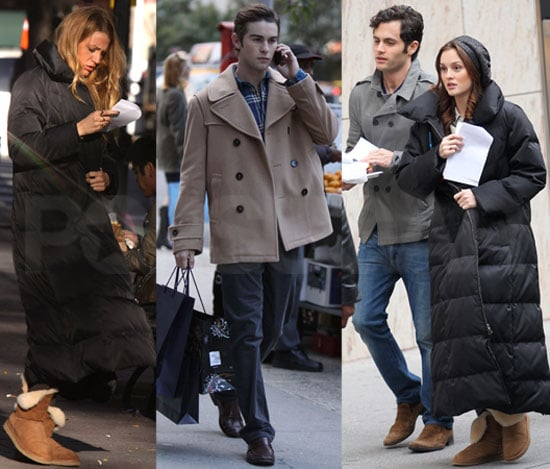 Pictures of Chace Crawford, Penn Badgley, Leighton Meester, and Blake Lively Filming Gossip Girl