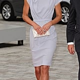 Kate carried a Jimmy Choo clutch.