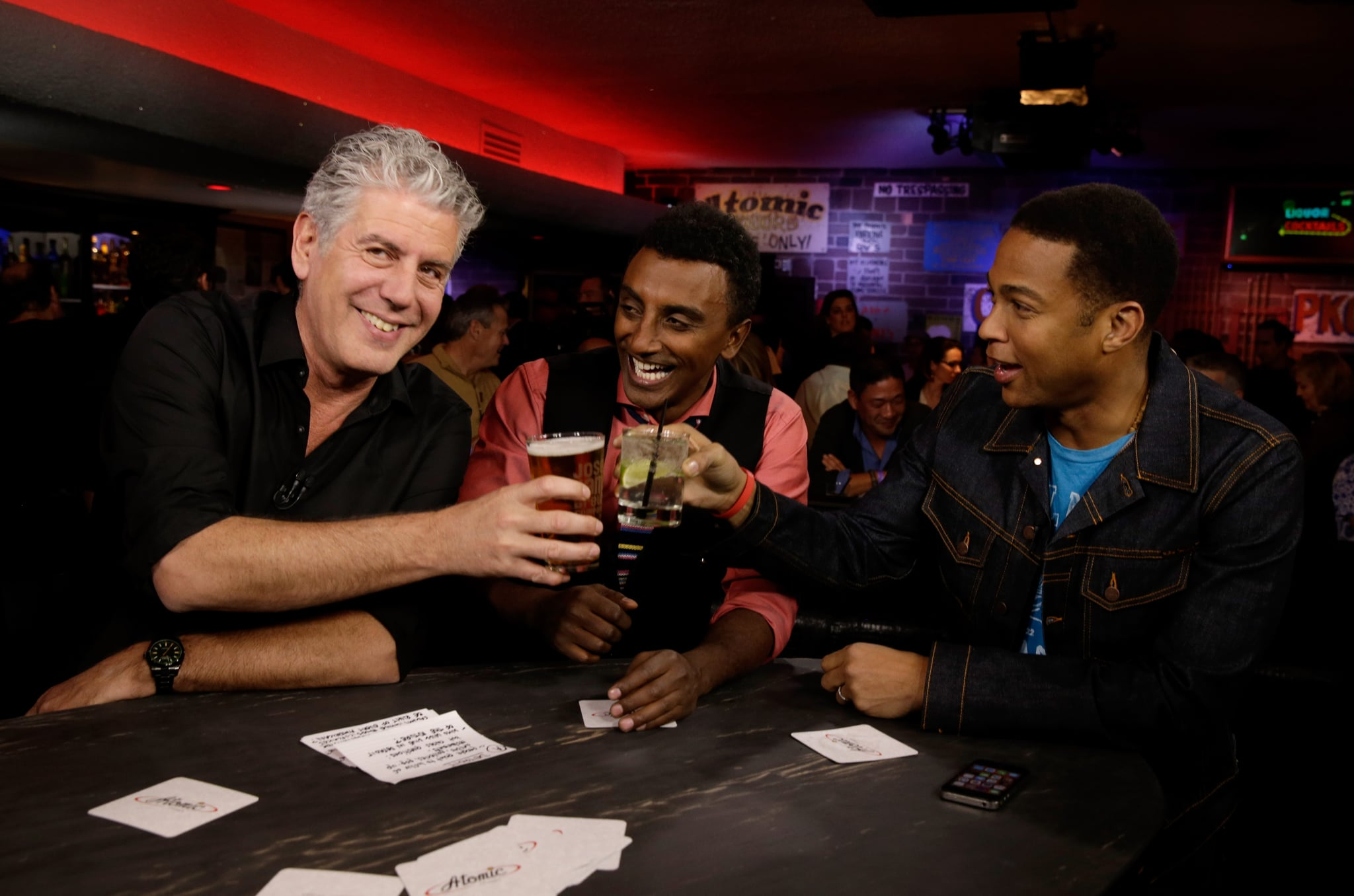 LAS VEGAS, NV - NOVEMBER 10:  (L-R) TV personality Anthony Bourdain, CNN anchor Don Lemon and chef Marcus Samuelsson attend
