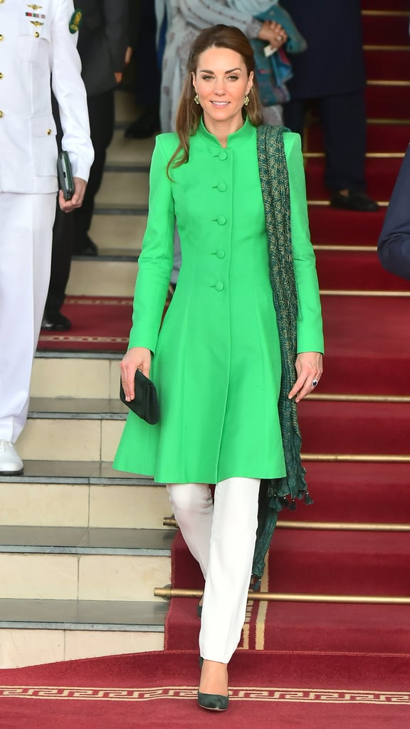 Kate Middleton in Catherine Walker, Maheen Khan, and Bonanza Satrangi