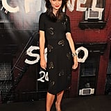 A ladylike knee length dress is so chic on Shalom Harlow.
