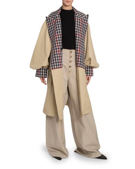 JW Anderson Checked-Trim Oversize Trench Coat