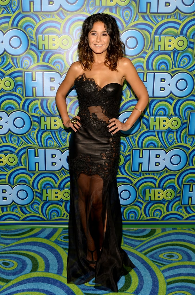 Emmanuelle Chriqui showed her sexier side in a sheer and lace strapless gown.