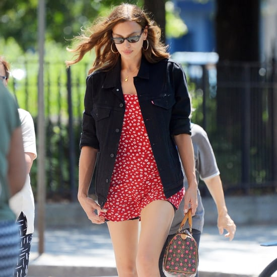 Irina Shayk Red Reformation Dress in NYC