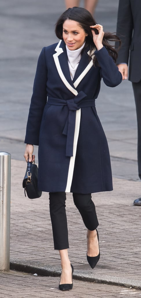 A Navy and White Coat and Ankle-Crop Pants in Birmingham in March 2018