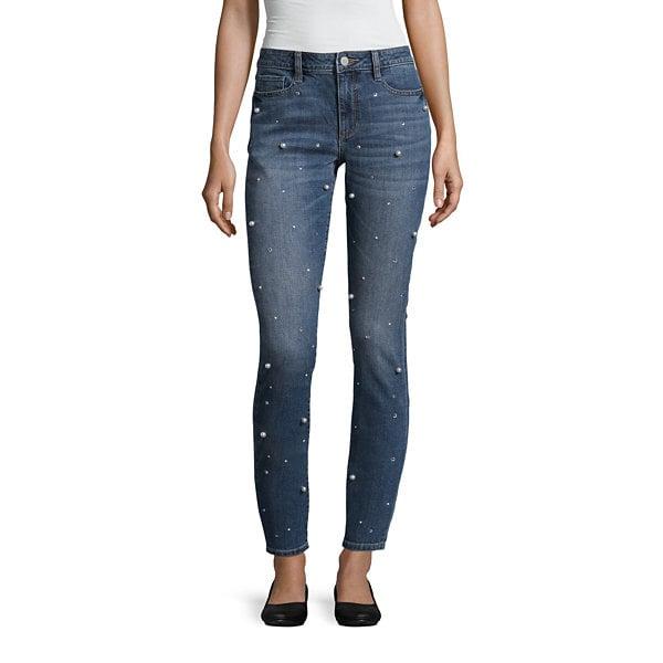 A.N.A Pearl-Embellished Skinny Jean