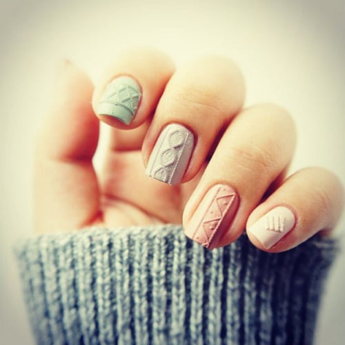 Cable Knit Nail Art