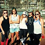 Hilary Duff kept things fit — and fun! — with her ladies over a game of baseball.