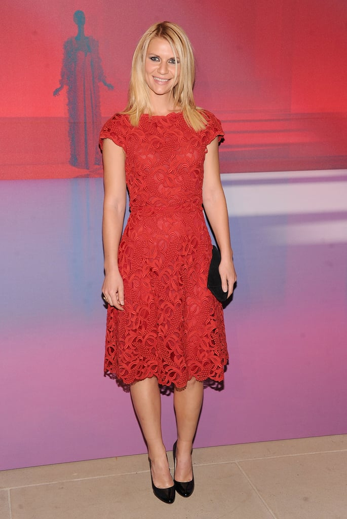 Claire Danes in a red lace dress at the Valentino Garavani Virtual Museum launch party.