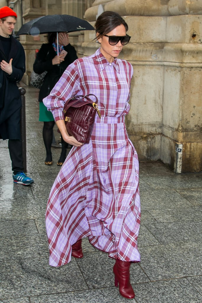 781ffabe53 Victoria Beckham Wearing Purple Plaid Outfit With Red Boots ...