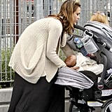 Jessica Alba and Haven Warren at a park in NYC.