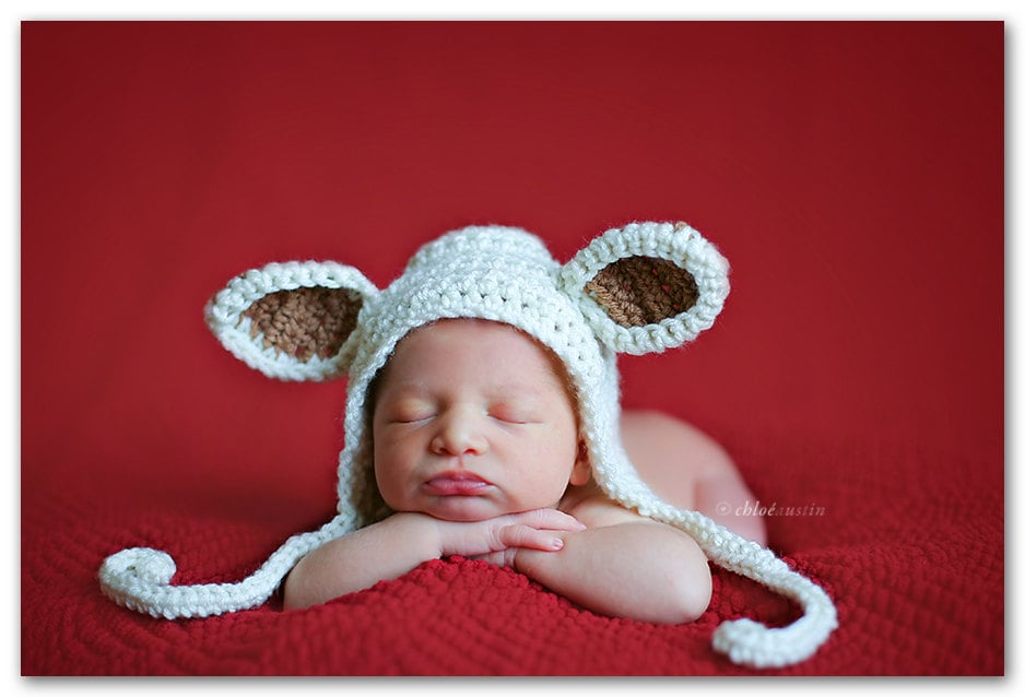 7e2c62537193 My Little Lamb Newborn Baby Hat