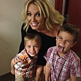 "For Mother's Day 2013, Britney and the little guys huddled together for a silly picture. ""I've got the two cutest boys in the world! I hope y'all are having as nice of a #mothersday as I am!"" she wrote."