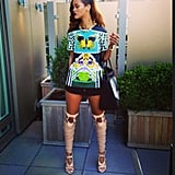 We can't get enough of Rihanna's amazing Mary Katrantzou top and knee-high Tom Ford boots. Source: Instagram user badgalriri