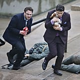 James Franco and Seth Rogen filmed a scene with a dog on the set of The Interview in Vancouver on Saturday.
