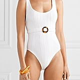 Hunza G Solitaire Belted Ribbed Seersucker Swimsuit