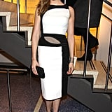 The black-and-white sheath dress Maggie Grace donned at the NYC premiere of The Flick was much like an art piece.