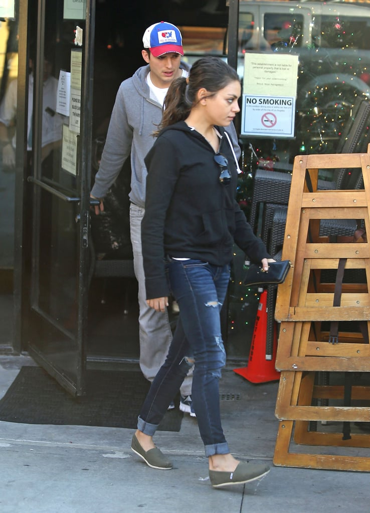 Mila Kunis walked with her boyfriend, Ashton Kutcher, in LA.