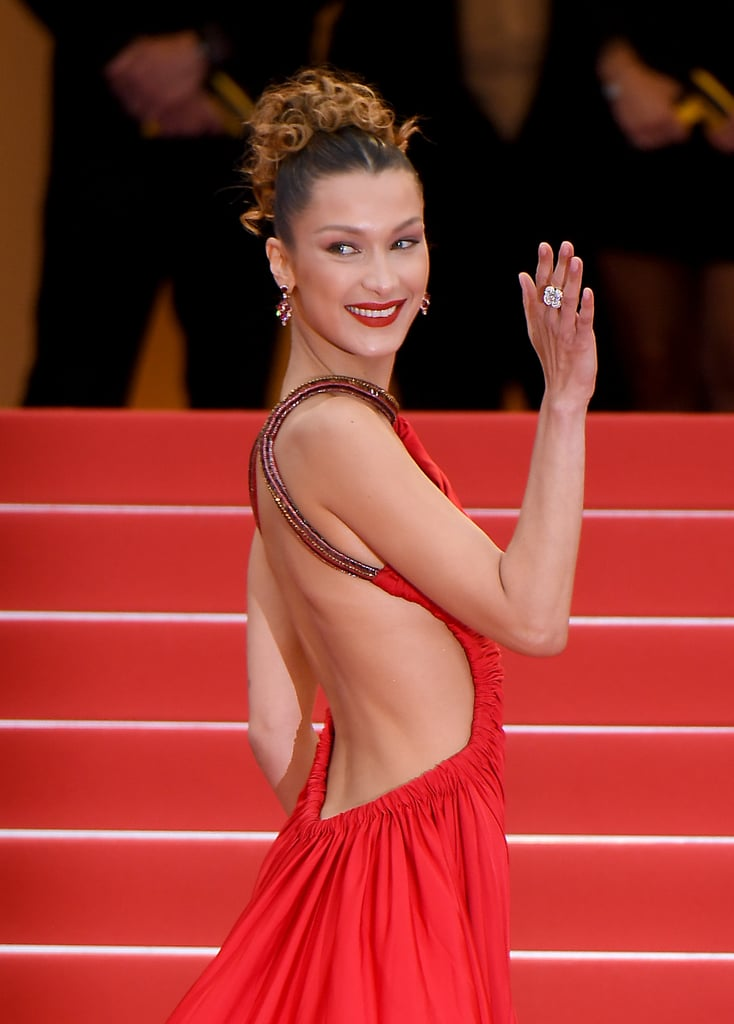 Bella Hadid Red Dress at Cannes 2019