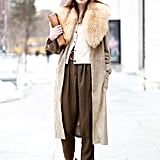 A fur collar and coordinating hat took this trousers and cardigan set to a much warmer — and chicer! — place.