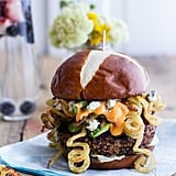 Buffalo-Blue Cheese Black Bean Burgers With Curly Fries
