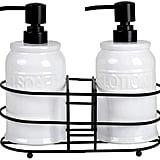 Home Basic Embossed Glazed Ceramic Dispenser Bottles and Rack