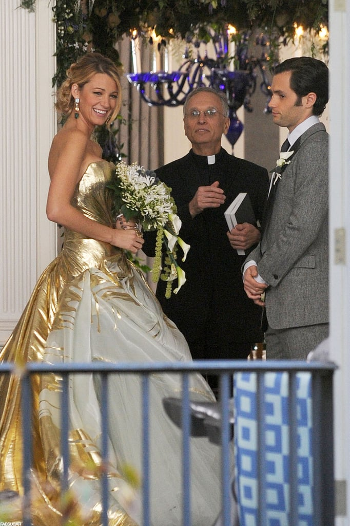 Blake Lively Goes For the Gold at Her Gossip Girl Wedding