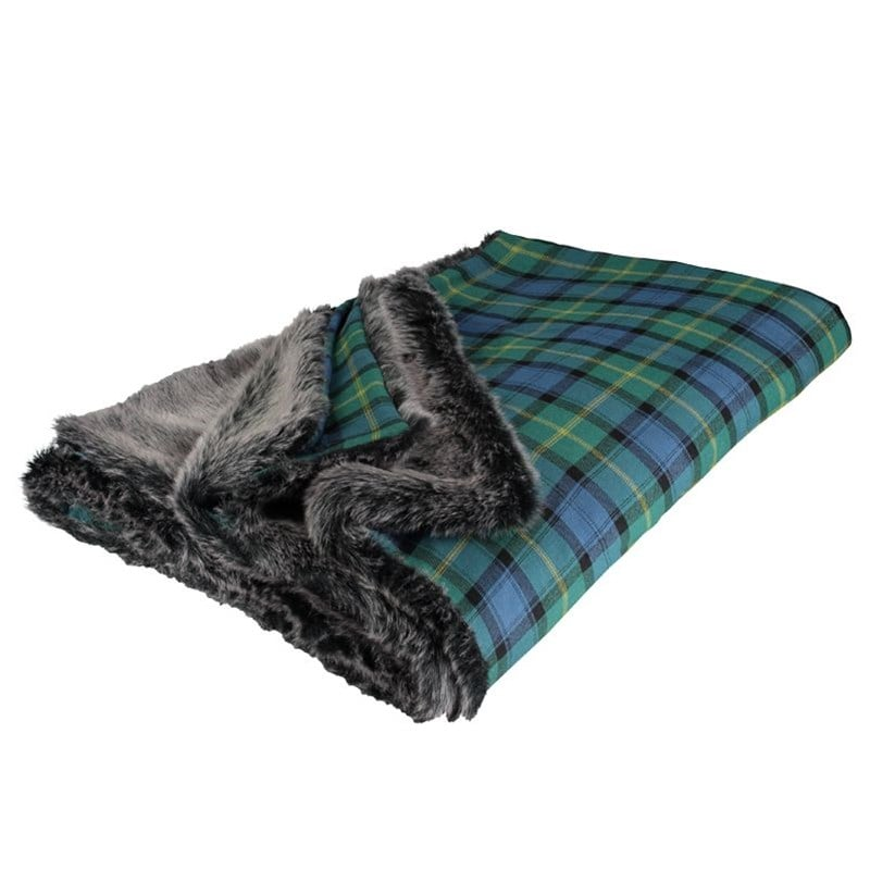 Scotland Shop Faux Fur Backed Tartan Throw