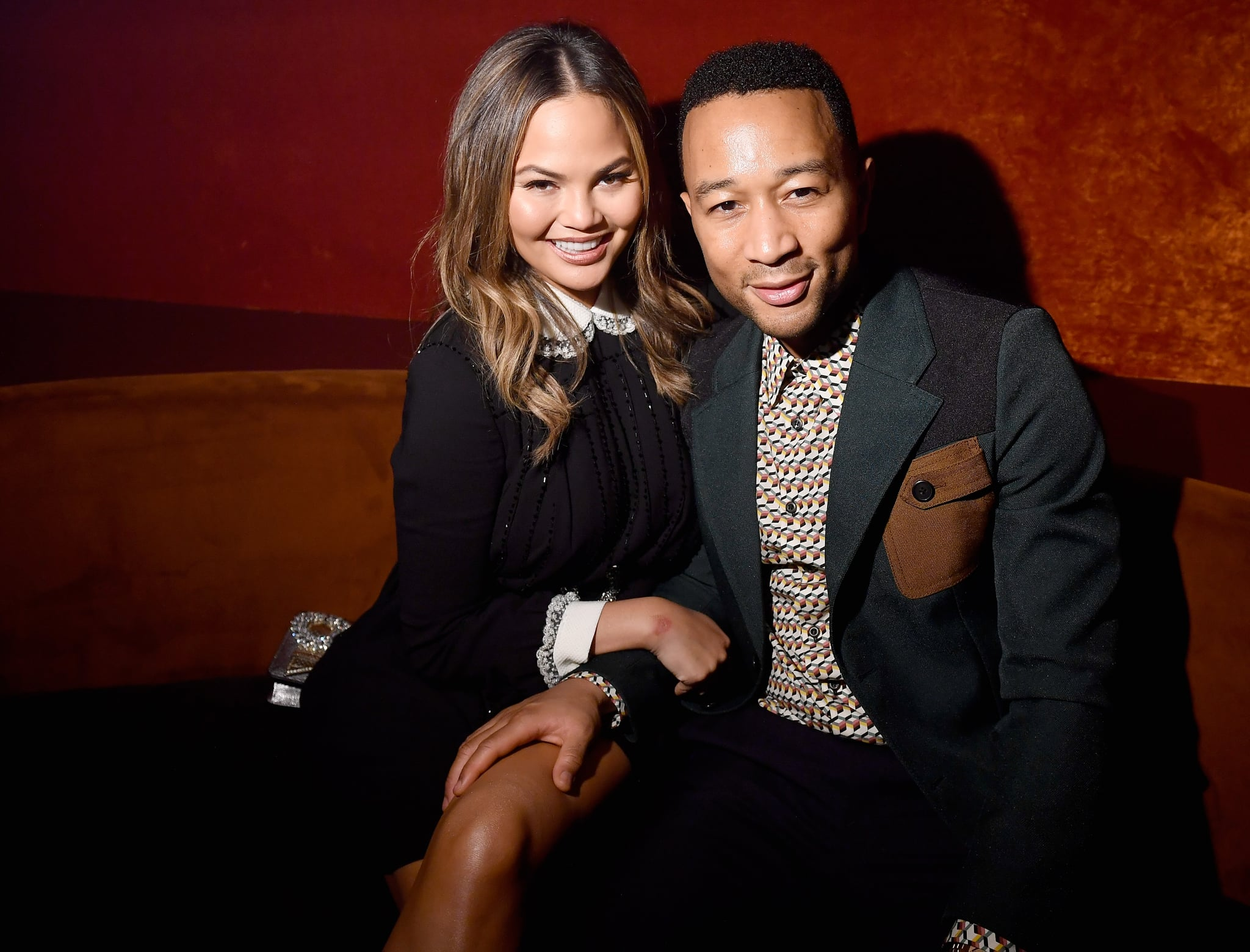 PARIS, FRANCE - OCTOBER 03: Chrissy Teigen and John Legend attends the Miu Miu aftershow party as part of the Paris Fashion Week Womenswear  Spring/Summer 2018 at Boum Boum on October 3, 2017 in Paris, France.  (Photo by Victor Boyko/Getty Images)
