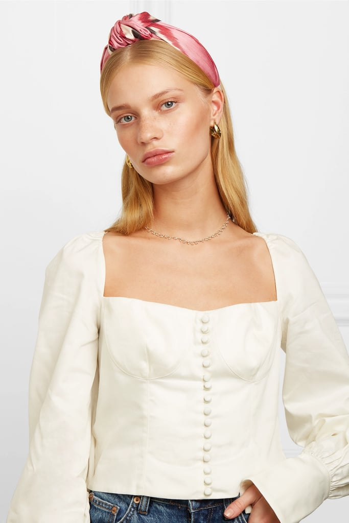 Jennifer Behr Ophelia Knotted Printed Cotton and Silk-blend Twill Headband