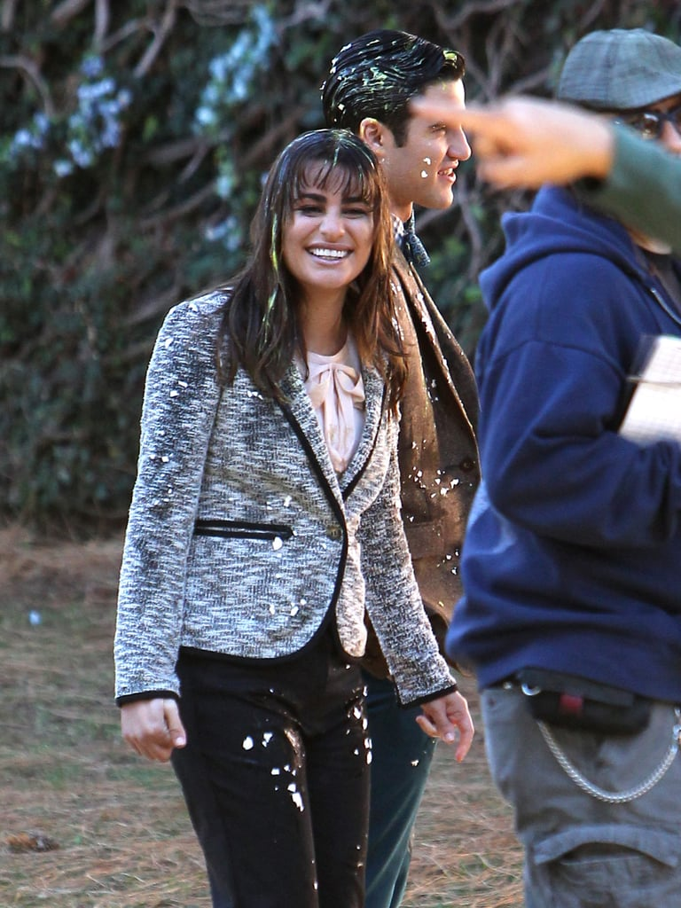 Lea Michele Getting Egged While Filming | Photos