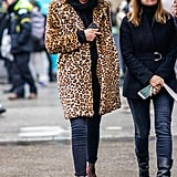 Style Your Leopard-Print Coat With: A Black Turtleneck, Jeans, and Pumps With Sheer Socks
